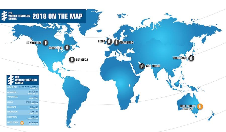 ITU announces the 2018 ITU WTS, World Cup and Paratriathlon calendar