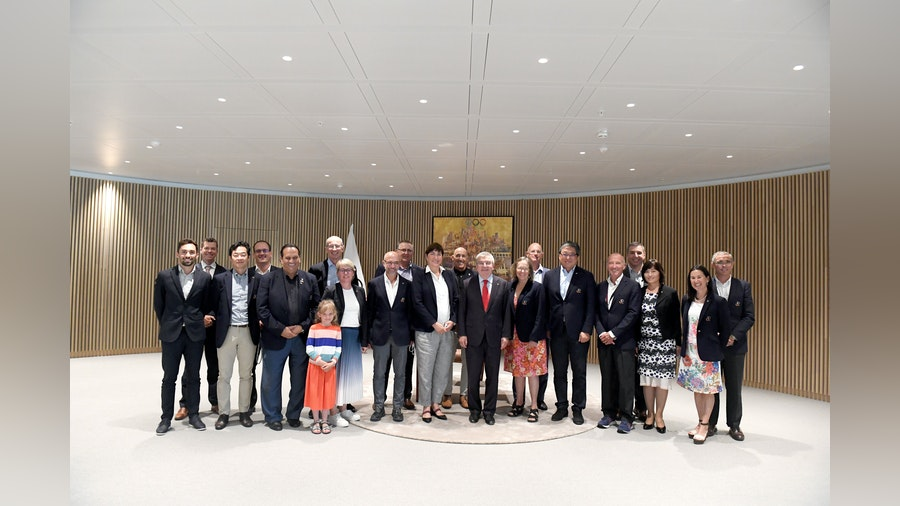 IOC President Thomas Bach hosts the ITU Executive Board meeting at the Olympic House