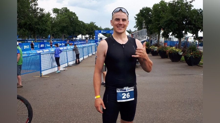 Rhys Clark made the switch from wrestling to triathlon and hasn't looked back