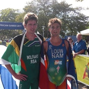 Wolfaardt and Fischer win the first triathlon All Africa titles for South Africa