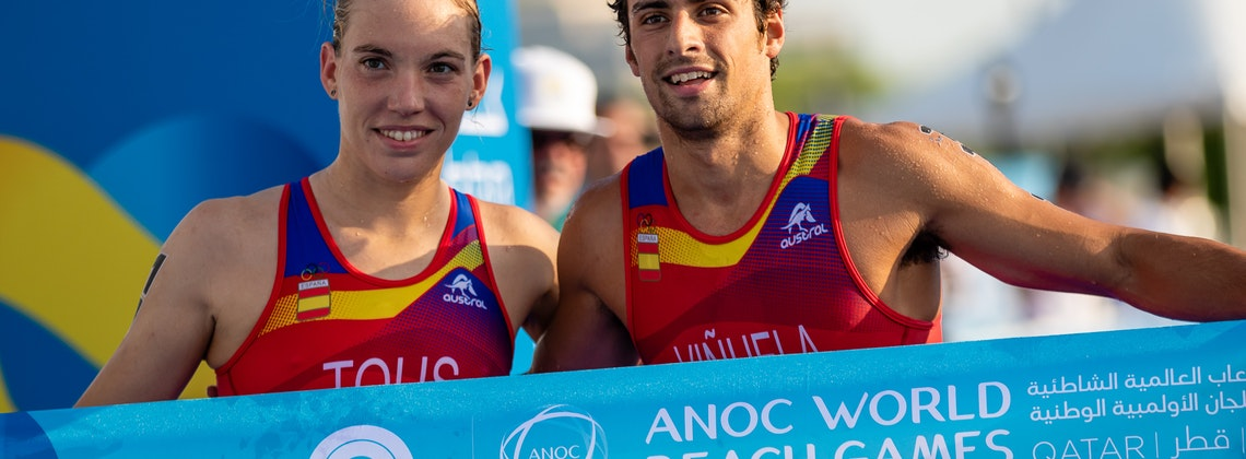 Another golden day for Spain at the ANOC Beach Games Aquathlon Mixed Relay