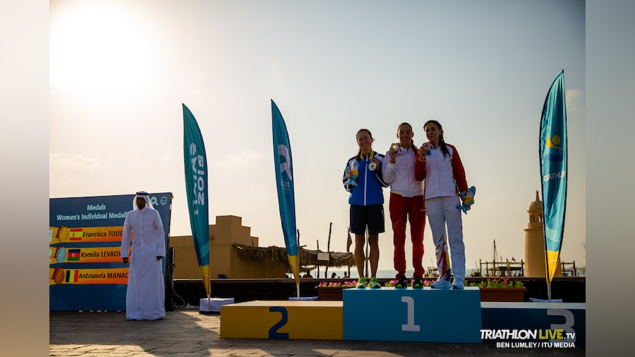 Spain sweeps gold in the Aquathlon debut at the ANOC World Beach Games